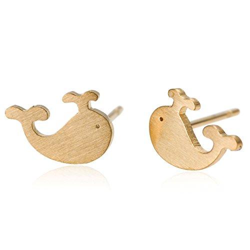 Post 11 Mm Flower (HUAN XUN Whale Post Stud Earrings Girls - 18k Gold Stainless Steel)
