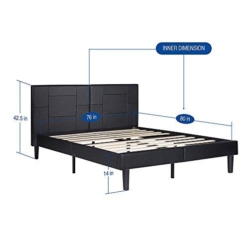 SLEEPLACE 14 Inch Dura Metal Faux Leather Wood Folding Platform Bed Frame ( black) new 14PB06 (King)