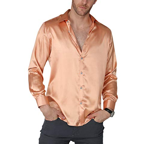VICALLED Men's Satin Luxury Dress Shirt Slim Fit Silk Casual Dance Party Long Sleeve Fitted Wrinkle Free Tuxedo Shirts (Champagne, M)