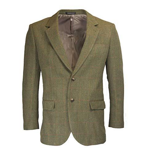 Walker & Hawkes - Mens Classic Windsor Tweed Country Blazer Jacket - Dark SAGE - 54
