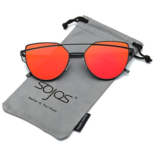 SojoS Cat Eye Mirrored Flat Lenses Street Fashion Metal Frame Women Sunglasses SJ1001 With Black Frame/Red Mirrored - Lens Sunglasses Mirror Red