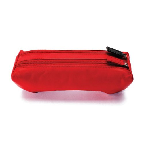 Winn Leather Dual Eyeglass Case w/Soft Cleaning Cloth with Dual Color Zipper Pulls, Red