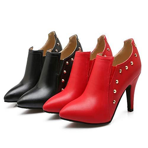 Stiefel Blanke auf Spitzen Frauen CITW Hohe Herbst Größen Lädt und Niet Weiseaufladungen Frauen Absätze Große Stiefel Art wXgEgWUqc