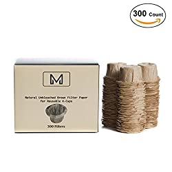 300 Disposable Natural Brown Coffee Filter Paper for Single Serve Keurig Brewer Reusable K-Cups - Mie Cup by Mie Cup
