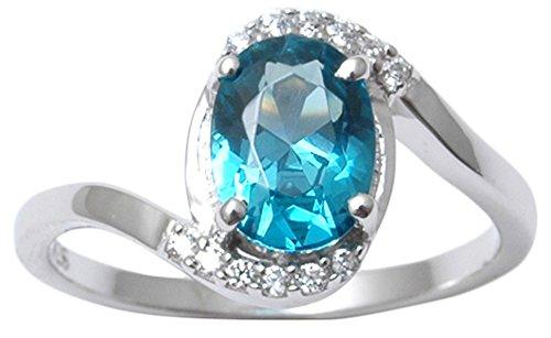 Banithani 925 Pure Silver London Blue Topaz Stone Women Finger Ring Fashion...