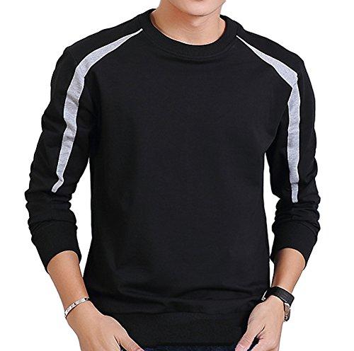 Blend Striped Crewneck Sweater (Muzboo Mens Lightweight Blend Crewneck Sweatshirt Striped Sleeve(Black-M))