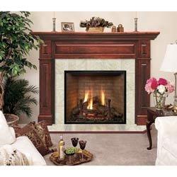 Lewiston Flush Cherry Wood Fireplace Mantel in Traditional Mahogany Finish w Raised Panels (Traditional Mahogany 40 in. x 48 in.) by Hearth and Home Mantels