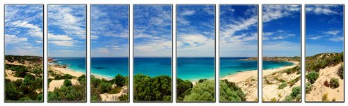 Sunset beach print on canvas, beach canvas prints, prints for modern home and office interior décor, seascape canvas designs, 8 panel print, sunset wall art, framed and ready to hang by Vibrant Canvas Prints