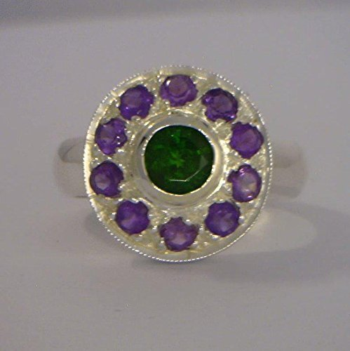 Green Chrome Diopside Purple Amethyst Halo Handmade Silver Ladies Ring size 8.75