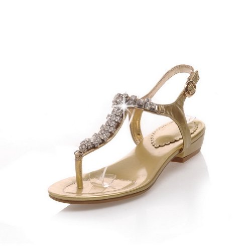 Heel Diamond Soft Toe Buckle Sandals Womens Gold Thong B 8 and US Open Low Glass Solid with WeenFashion PU M Material EOBIqEx