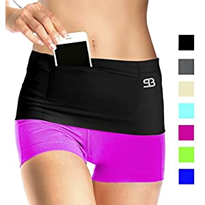 Stashbandz Spandex Money Belt Fanny Pack Extra-Wide Fits XL Mobile Phones Medium, Sizes 8-14 (HipSpandex, Black, Med)