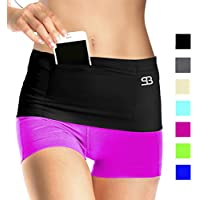 Stashbandz Unisex Travel Money Belt, Running Belt, Fanny and Waist Pack, 4 Large Security Pockets and Zipper, Fits Phones Passport and More, Extra Wide Spandex