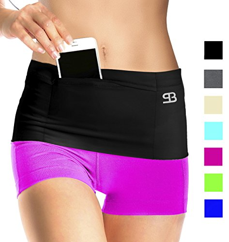 StashBandz Unisex Travel Money Belt, Running Belt, Fanny and Waist Pack, 4 Large Security Pockets and Zipper, Fits All Size Phones Passport and More, Extra Wide Spandex