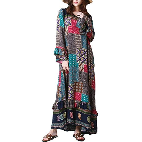 JESPER Women Loose Ethnic Print Long O-Neck Long Sleeves Flowy Skirts Maxi Caftan Dress Khaki