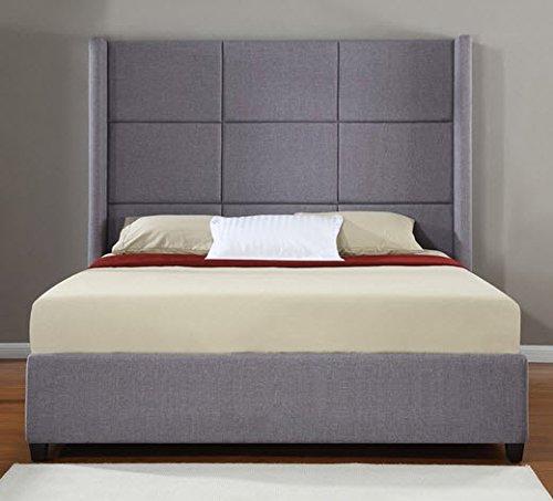 amazoncom jillian grey upholstered kingsize platform bed frame kitchen u0026 dining