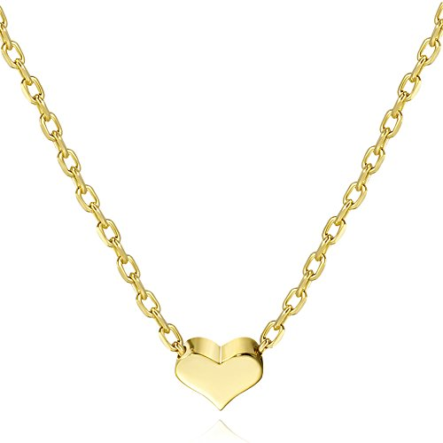 S.Leaf Tiny Heart Necklace Sterling Silver Delicate Love Heart Collar Necklace Dainty Necklace (gold, 7) (Gold Solid Leaf)