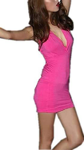 Cx Cou Profonde Tendance Dames Chaud V Combishort Mini Robes Dos Nu Clubwear Rose Rouge