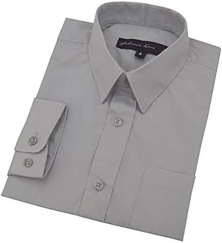 Johnnie Lene Boy's Long Sleeves Solid Dress Shirt