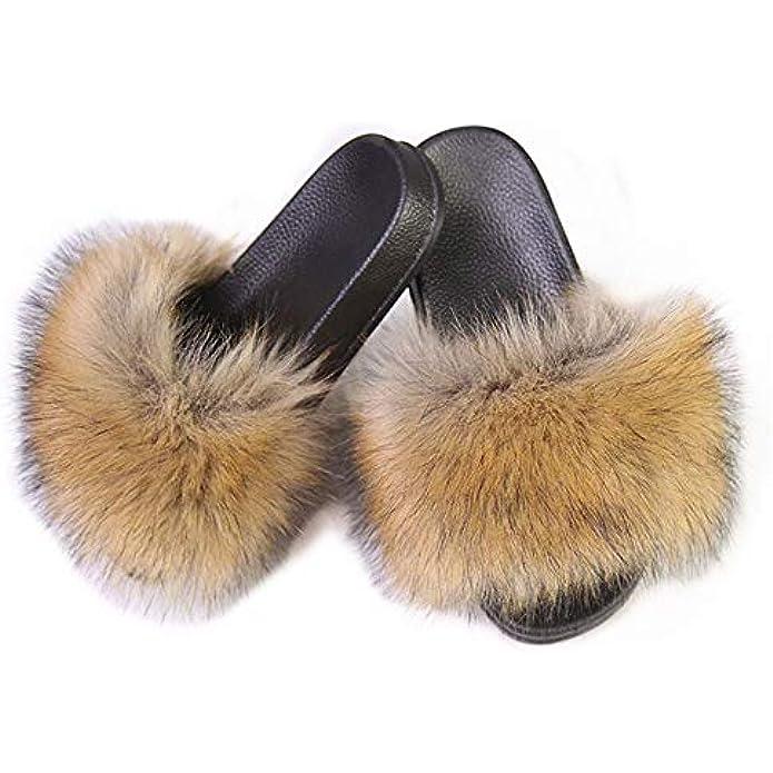QMFUR Women's Vegan Faux Fur Slippers Fuzzy Slides Fluffy Sandals Open Toe Indoor Outdoor