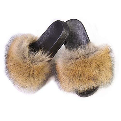 Slides Fur - LSWJS Women's Vegan Faux Fur Slippers Fuzzy Slides Fluffy Sandals Open Toe Indoor Outdoor (5, Yellow-1)