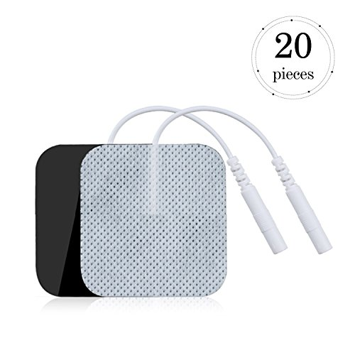 TENS Unit Reusable Japanese Gel Electrodes Pads, 1.5x1.5 20 Pcs Premium Quality Replacement Pads for Wired TENS/EMS Units Pads Massage Electrotherapy