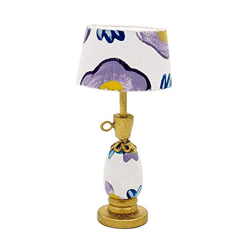 Doll Lamp - Odoria 1:12 Miniature Purple Table Lamp Reading Lamp Dollhouse Decoration Accessories