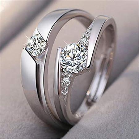 Monbedos - Anillo de compromiso de plata con diamante para pareja y ella (2 unidades): Amazon.es: Hogar