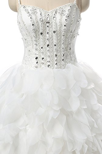 Ruffles Gown Bridal Cloverdresses Ball Dresses V Dresses Crystals Straps Neck White with Wedding Double FxxafR