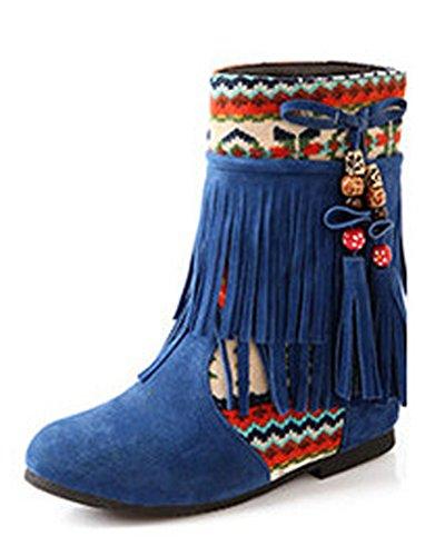 Maybest Womens Ladies Nappa Tacco Basso Con Zeppa Stivaletti Scarpe Invernali Calde Con Perline Blu