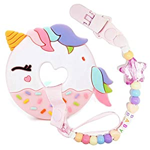 A.Voice Unicorn Donut Cookies Silicone Teether Pacifier Clip Set Non Toxic(Pink)