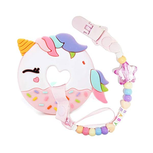 A.Voice Unicorn Donut Cookies Silicone Teether Pacifier Clip Set Non Toxic(Pink) 3