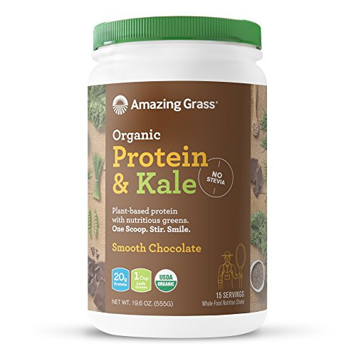 Amazing Grass Organic Plant Based Vegan Protein and Kale Powder, 15 servings, 20g protein with Greens, No Stevia, Flavor: Chocolate, Non-GMO, Gluten Free