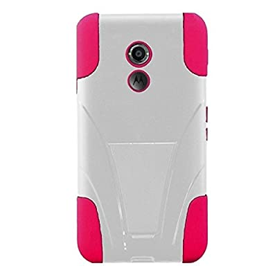 HR Wireless T-Stand Case for Motorola Moto X (2nd Gen) - Retail Packaging - White/Hot Pink from HR Wireless