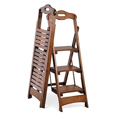 3-step Wood Folding Ladder Stool Walnut Finish 48'' by FK