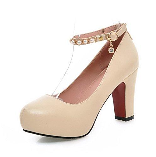 VogueZone009 Damen Hoher Absatz Weiches Material Rein Schnalle Rund Zehe Pumps Schuhe Cremefarben