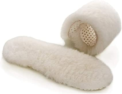 Real Sheepskin Lambswool Cushioning Shearling Cozy Warm Insoles with Honeycomb