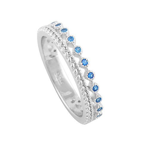 Sterling Silver Double Row Blue Cz Eternity Ring - Size -