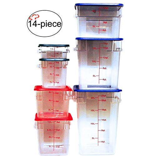 Tiger Chef Food Storage Square Polycarbonate Container Set Containers with Lids Commercial Grade, 2, 4, 6, 8, 12, 18, 22 quart, 14 Piece