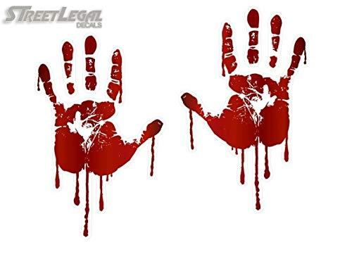 (Life Size Bloody Hand Print (Both) 2 Decals Walking Zombie Dead Halloween Prop Vinyl Stickers (5.5