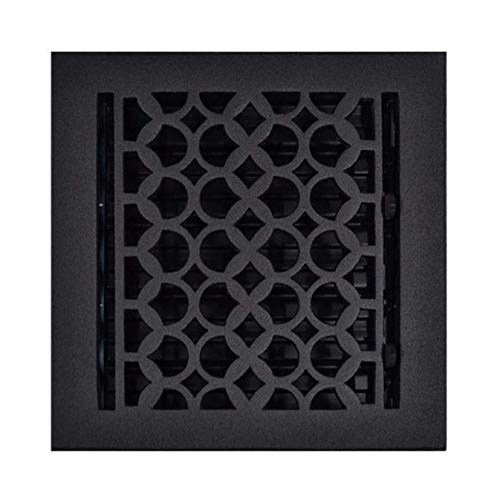 Floor Register Cast Iron 8X8 Black - Floor Ducts with Metal Dampers, Designer Air Vents, Heavy Duty, Kitchen Decorative Hardware, Sand Casted, Powder Coated, Matte Flat - Black