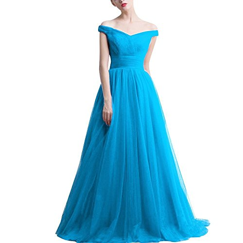 Long Prom Bridal 2017 Double Evening Neck Gown Tulle Amore Blue Dress Sexy V xYdvqSSB