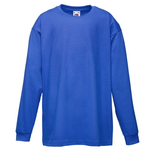 Fruit Of The Loom Childrens/Kids Big Boys Valuweight Long Sleeve T-Shirt (3-4) (Royal) (Shirt Rugby School)