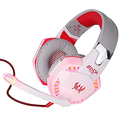 Gilumza Kotion Each G2000 Over-ear Game Gaming Headphone Headset Earphone Headband with Mic Stereo Bass LED Light for Pc Game (White & Red)