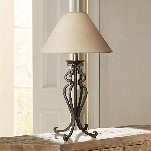 Rustic Table Lamp Open Scroll Wrought Iron Parchment Empire Shade for Living Room Family Bedroom Bedside - Franklin Iron Works