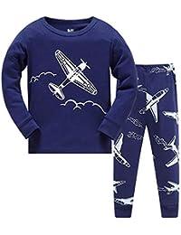 Toddler Boys Pajamas Train 100% Cotton Fire Truck Pajama Boy Airplane 2 Piece Pjs Sets Clothes 1-7 T