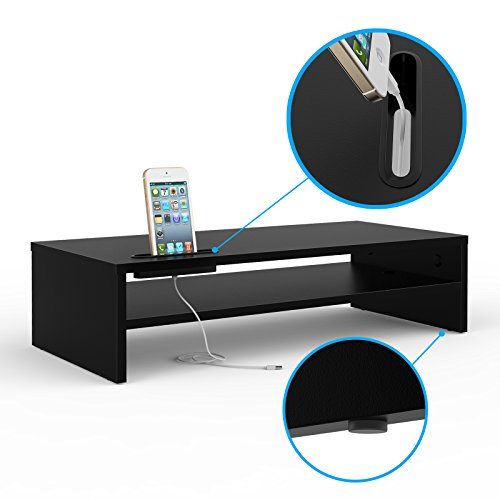 1home Universal Wood Monitor Stands Speaker TV PC Laptop Computer Screen Riser Desk Organizer 21.3 inch with Shelf Black
