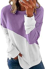 imrusan Women Long Sleeve Crewneck Sweatshirt Color Block Pullover Tops, S-2XL
