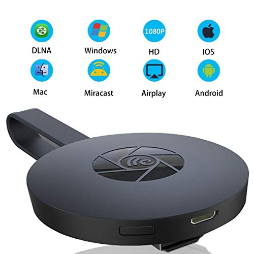HONTECH Miracast Wireless Display Dongle Receiver, Chromecast 2nd Generation HDMI Media Video Digital Streamer Dongle 1080P HD Adapter for Smartphone IPad and PC