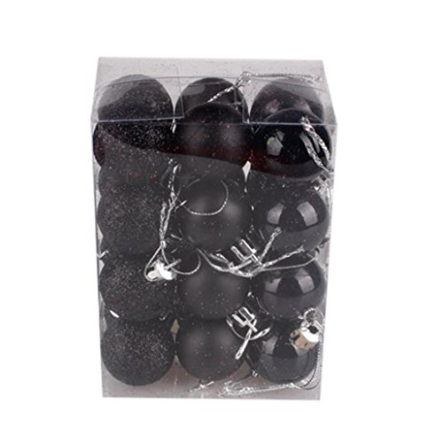 24PCS Christmas Tree Ball,Tuscom Xmas Party Hanging Home Ornament Decor (Black, Diameter:30MM)