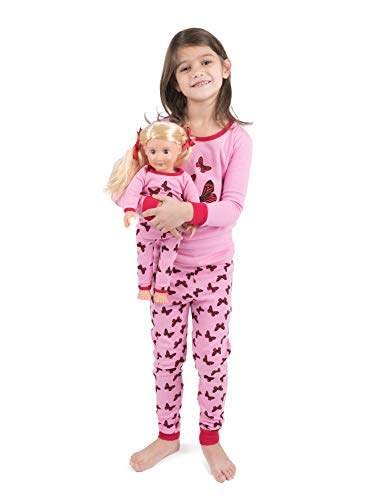 Leveret Kids Pajamas Matching Doll & Girls Pajamas 100% Cotton Pjs Set (Butterfly,Size 4 Toddler)